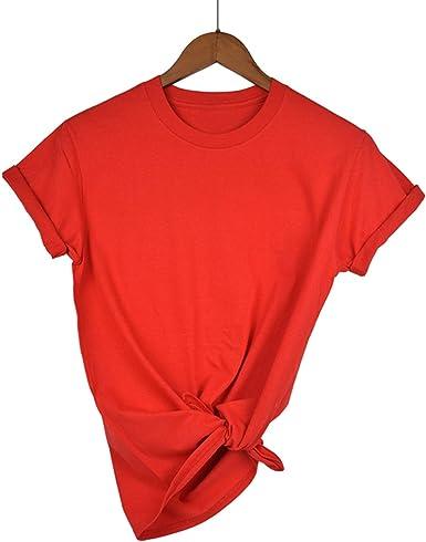 Auspiciousi Llanura Camiseta Mujer Algodón Elástico Camisetas básicas Mujer Casual Tops Camiseta Manga Corta: Amazon.es: Ropa y accesorios