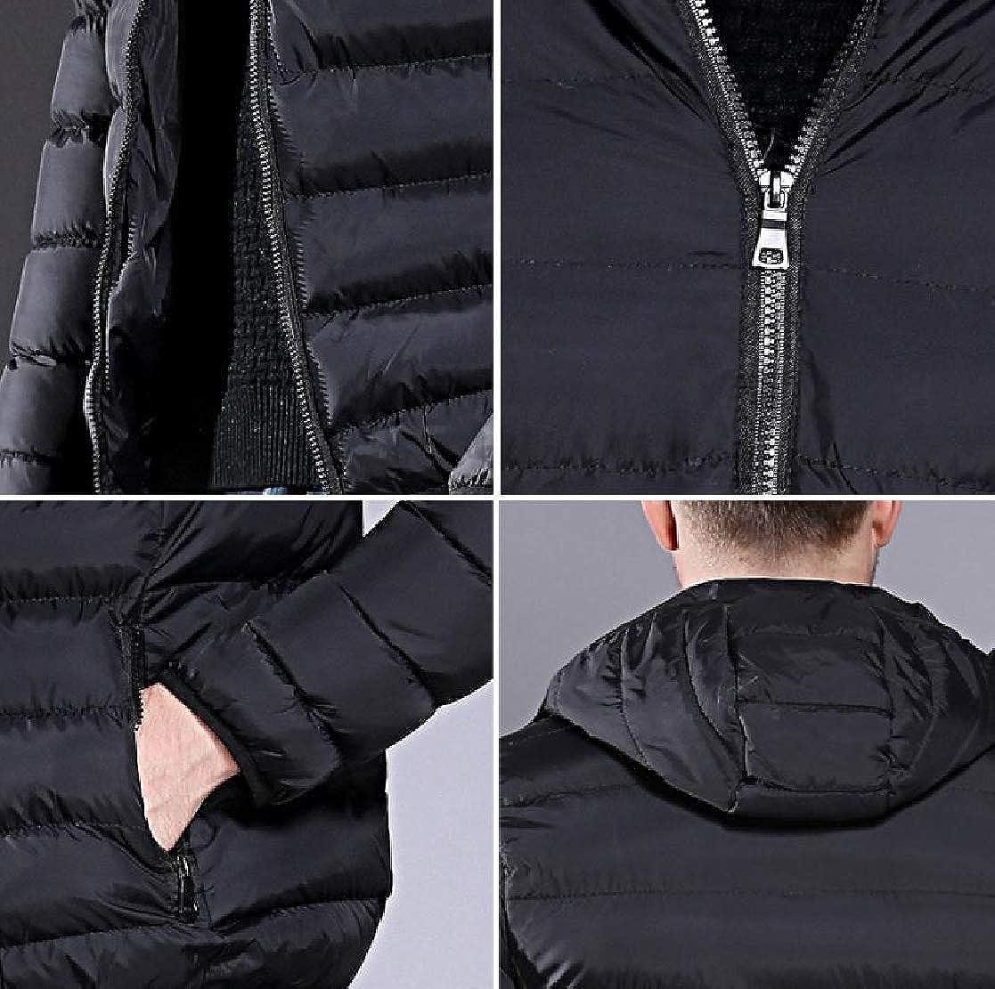 YUNY Mens Qualited Warm Waterproof Hood Outwear Zip-up Winter Parka Jacket Black L