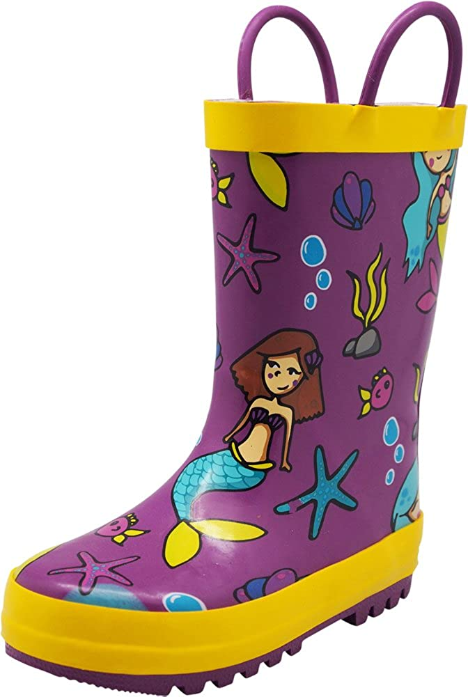 SOLARRAIN Girls Rubber Waterproof Rain Boots with Easy On Handles Non Slip Durable Mud Boots Cute Printed Rain Shoes for Toddler and Kids