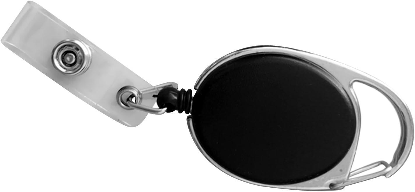 Beetest/® 10 pcs R/étractable Badge Porte-cl/és Fob Badge Reel Porte-cl/és Reel Clip sur Bus Carte Carte Didentit/é Titulaires Noir Porte Badge Enrouleur Retractable