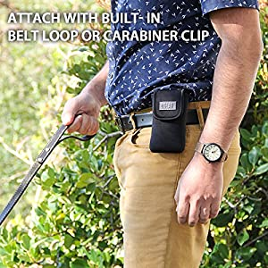 Dog Treat Carrying Pouch & Puppy Training Snack Bag Holder with Reinforced Belt Loop & Carabiner Clip by USA Gear - Attaches to Waist, Backpack, Purse, More - Carry Treats on Walks or Travel