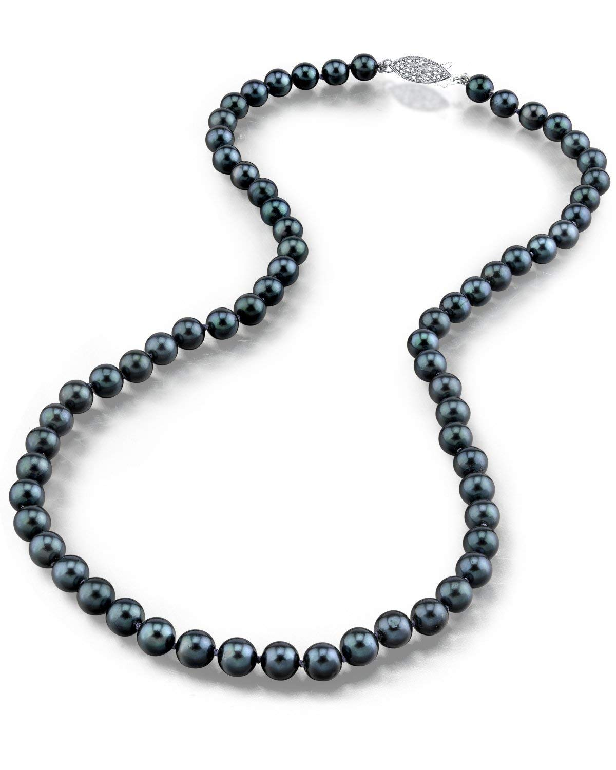 THE PEARL SOURCE 14K Gold 6.5-7.0mm AAA Quality Round Genuine Black Japanese Akoya Saltwater Cultured Pearl Necklace in 20'' Matinee Length for Women
