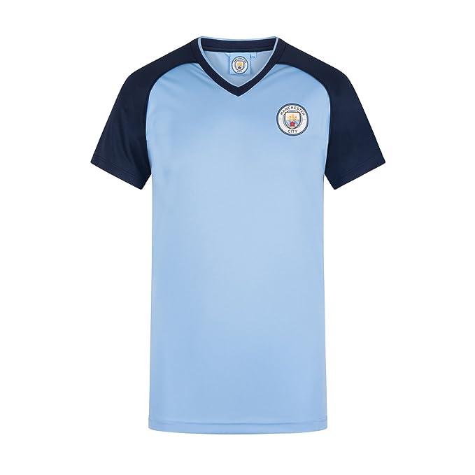 Manchester City FC - Camiseta Oficial para Entrenamiento - para Hombre - Poliéster - Azul Cielo