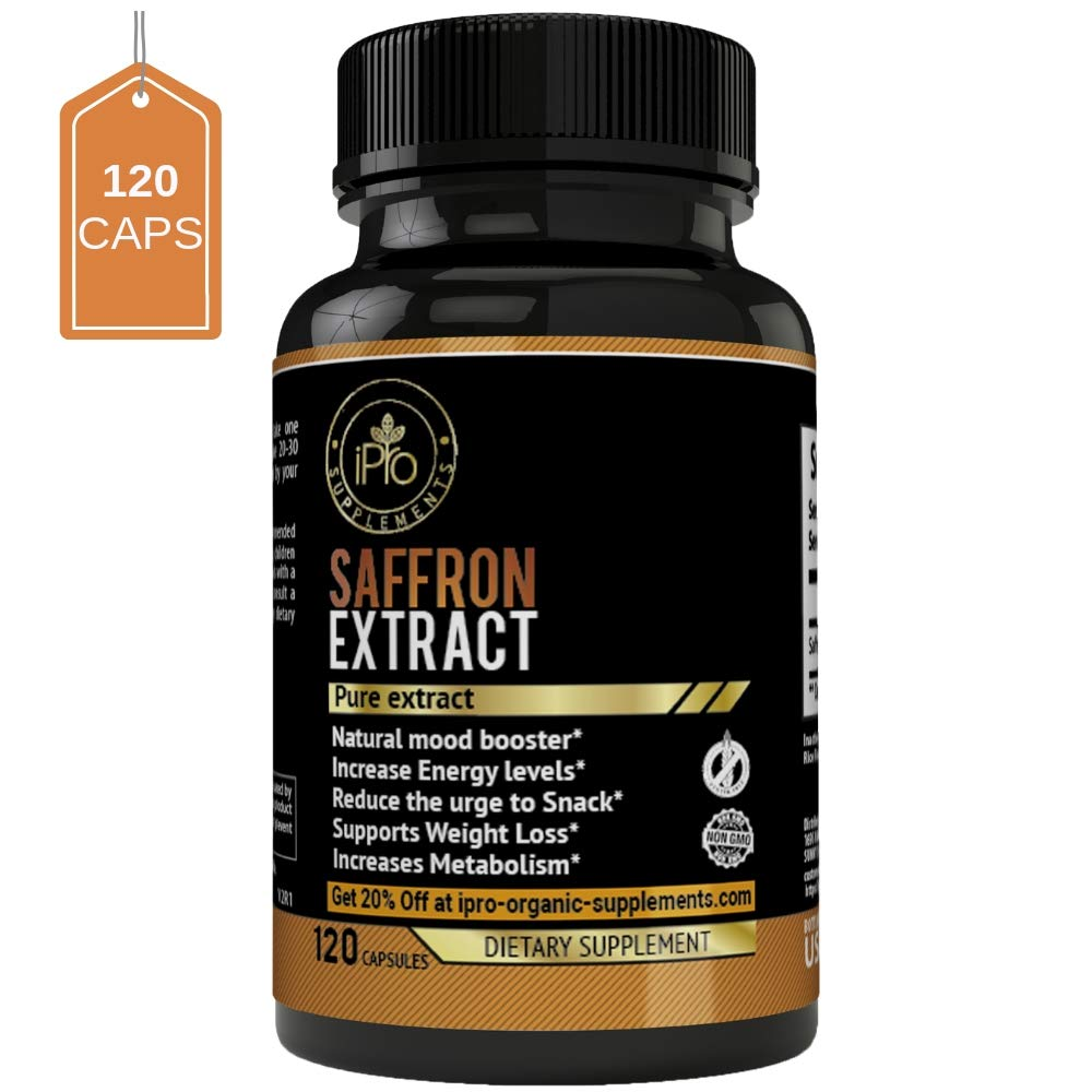 iPro Supplements Saffron Pure Extract - 120 Capsules for Eye Health Depression All Natural Pills Appetite Suppressant Weight Loss Boost Metabolism Macular Degeneration Mood Energy Booster