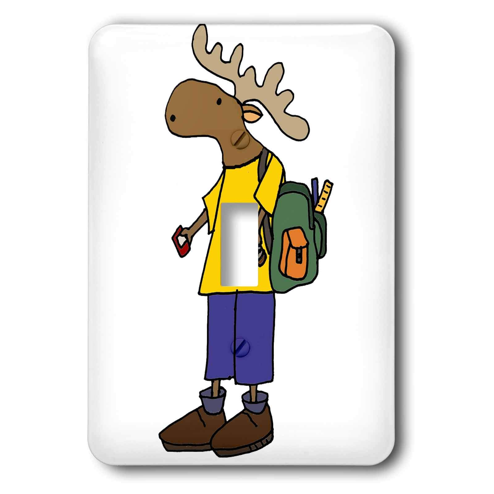 3dRose All Smiles Art - Animals - Cute Funny Unique Moose with backpack Back to School - Light Switch Covers - single toggle switch (lsp_291164_1)
