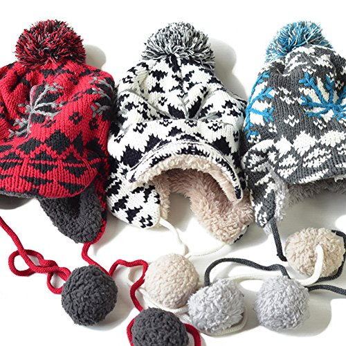 Women's Knitted Hats Thickening Winter Warm Knit Hat Snow Ski Caps with Visor 3 Colors