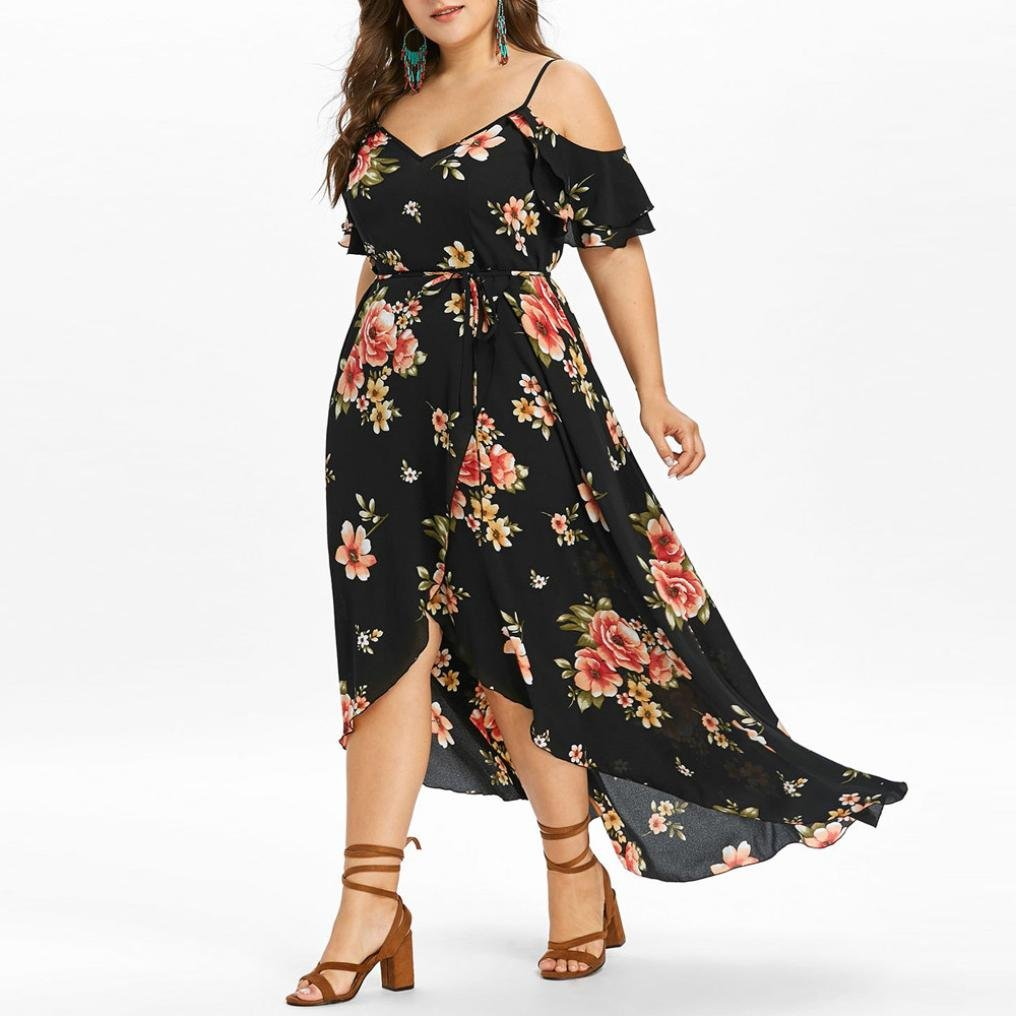 Anglewolf Plus Size Womens Casual Short Sleeve Cold Shoulder Boho Flower Printed Long Dress Ladies Summer Sexy V-Neck Strappy Dress Asymmetrical Floral ...
