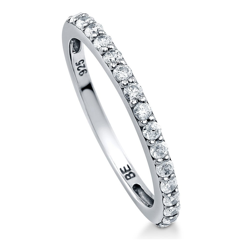BERRICLE Rhodium Plated Sterling Silver Cubic Zirconia CZ Half Eternity Band Ring Size 5.5