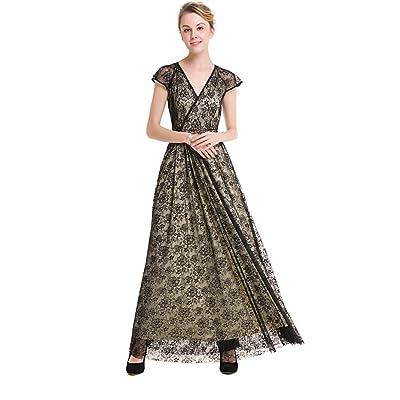 Klicky Women's Casual Deep-V Neck Short Sleeve Vintage Wedding Maxi Dress: Clothing