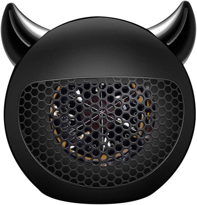 MANTFX Ventilador De Sobremesa con Forma De Diablito, Mini Calefactor con Protección contra Sobrecalentamiento, Ventilador Calefactor Eléctrico con Bajo Consumo Energético (Negro)