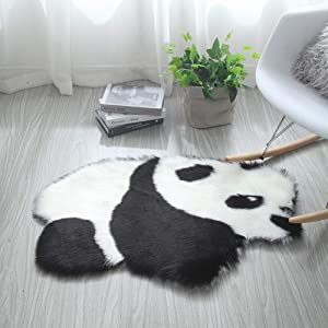 ZaH Shag Area Rug 2 x 3 FT Animal Shaggy Carpet Home Decor Soft Fluffy Fur Mat for Bedroom Bathroom Indoor Sheepskin Doormat (Panda)