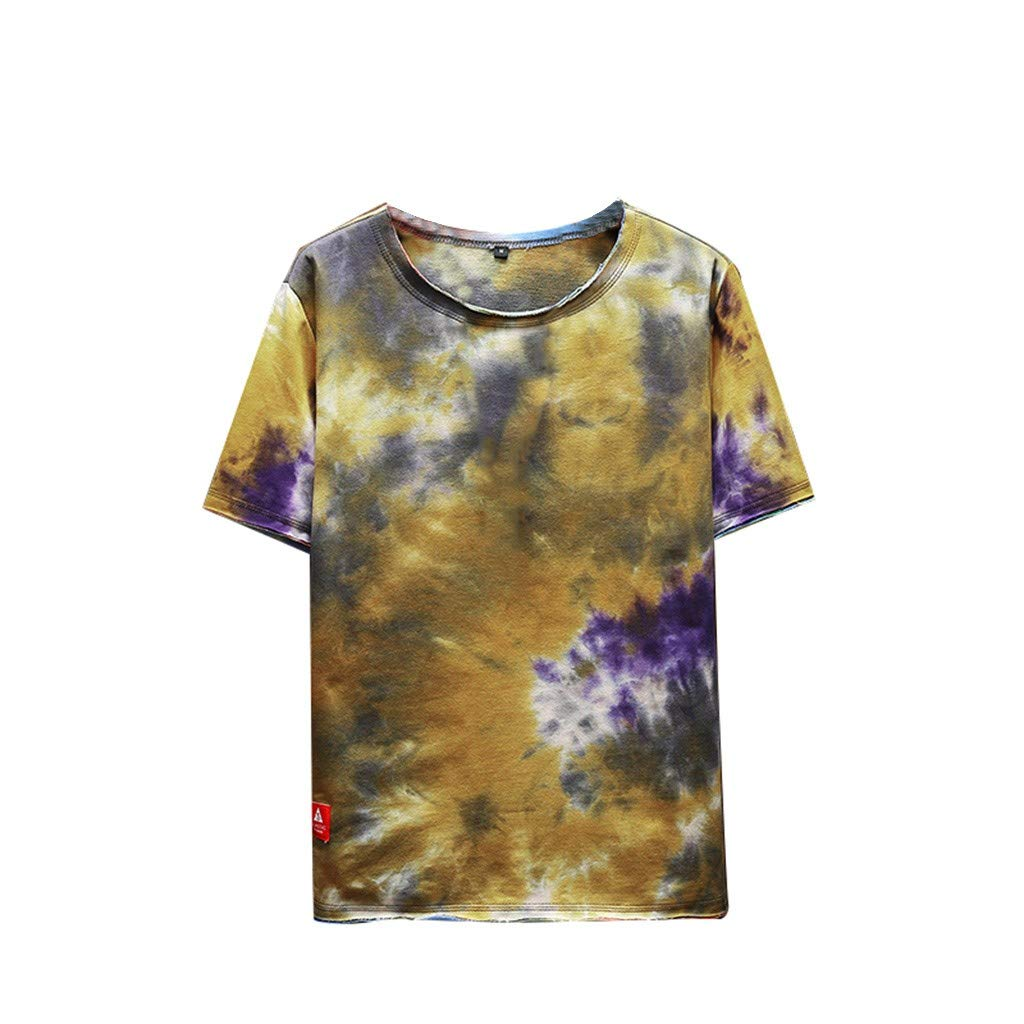 Men's Summer Fashion Printed Tie-Dyed Short Sleeves Comfortable Top Coffee