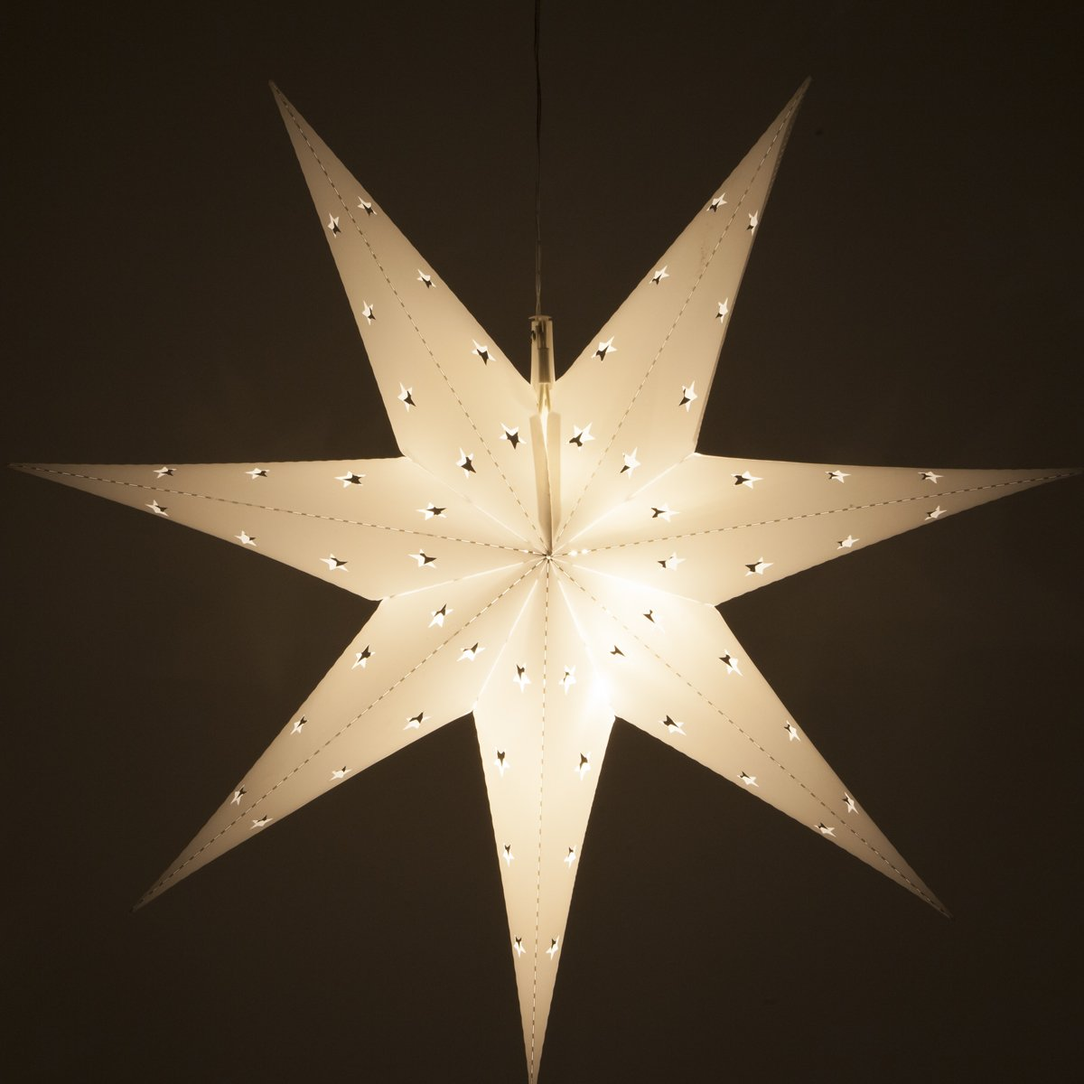 Wintergreen Lighting Fold-Flat 7-Point Star Light – Hanging Star – Christmas Star Light Decoration/Battery-Powered with Timer (24'', White)