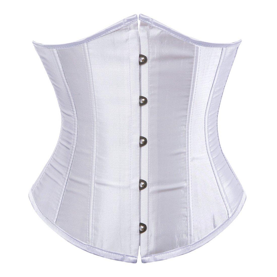 Zhitunemi Women's Satin Underbust Corset Bustier Waist Training Cincher Plus Size 6X-Large White