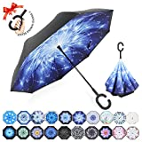 ZOMAKE Double Layer Inverted Umbrella Cars Reverse Umbrella, UV Protection Windproof Large Straight Umbrella for Car Rain Outdoor With C-Shaped Handle (Meteor)