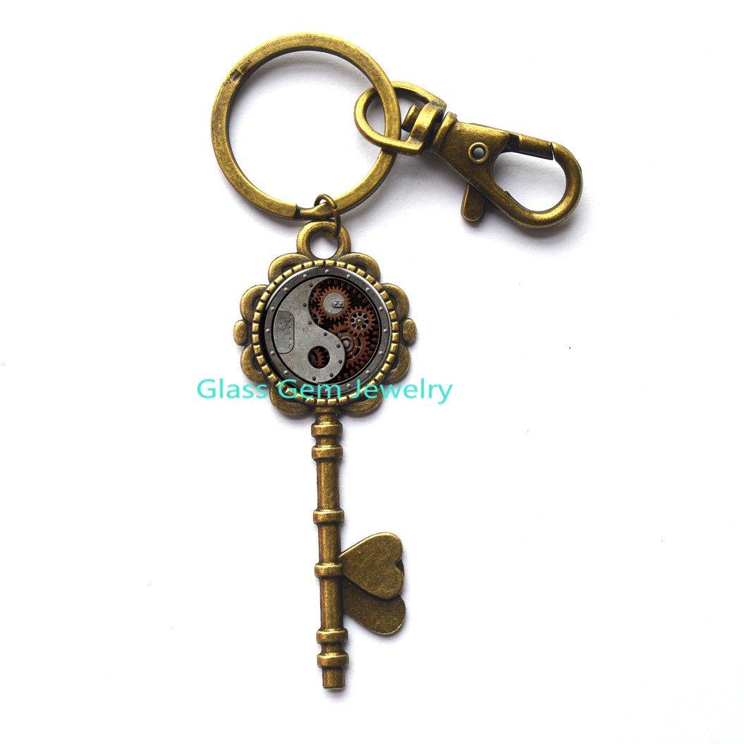 Amazon.com   Steampunk Handmade Key Keychain Bronze Charming Clock Watch  Glass Key Key Ring jewelry Mens Womens Wedding Gift.XY27   Office Products 209a337bd