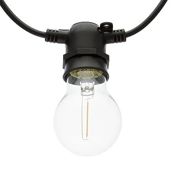 LuminalPark - Guirnalda de Luces con 10 Bombillas LED E27 de vidrio Colección Party, 5 m, luz cálida, extensible, apta para exteriores: Luminalpark: ...