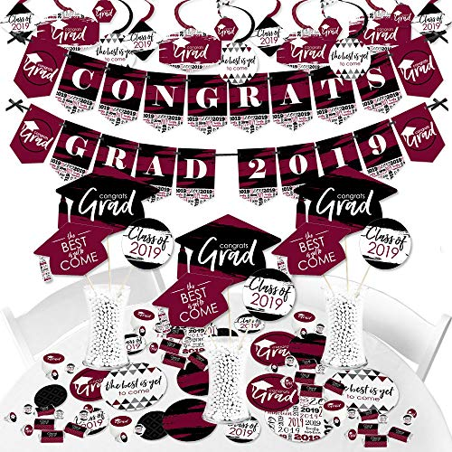 Maroon Grad - Best is Yet to Come - 2019 Burgundy Graduation Party Supplies Party Decoration Kit - Fundle Bundle