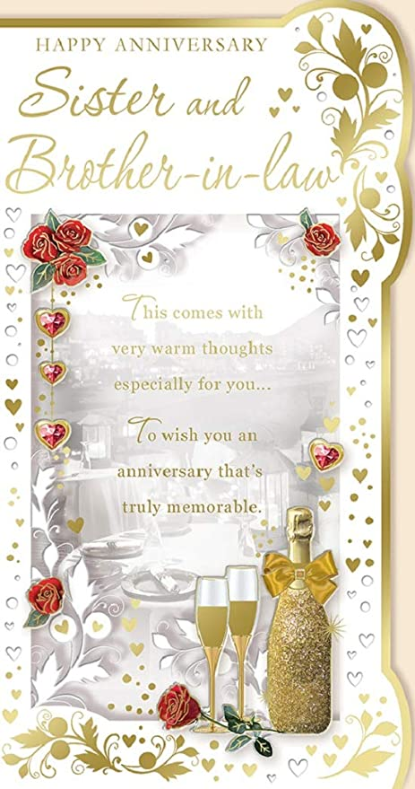 Sister Brother In Law Anniversary Card Champagne Hearts Roses