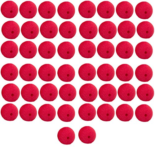 Yansanido Pack of 50 Red Foam Clown Noses Novelty Foam Clown Noses for Halloween Christmas Costume Party(50pcs) -