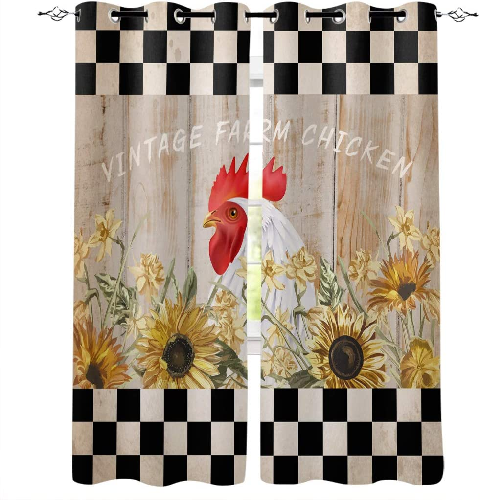 """Buffalo Plaid Rooster Sunflower Wood Grain Home Decor Window Curtains - Window Treatment Set with Silver Grommet 