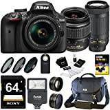 Nikon D3400 DSLR Camera + 18-55mm & 70-300mm Lenses Case + 64GB Card + Digital Slave Flash + Kit