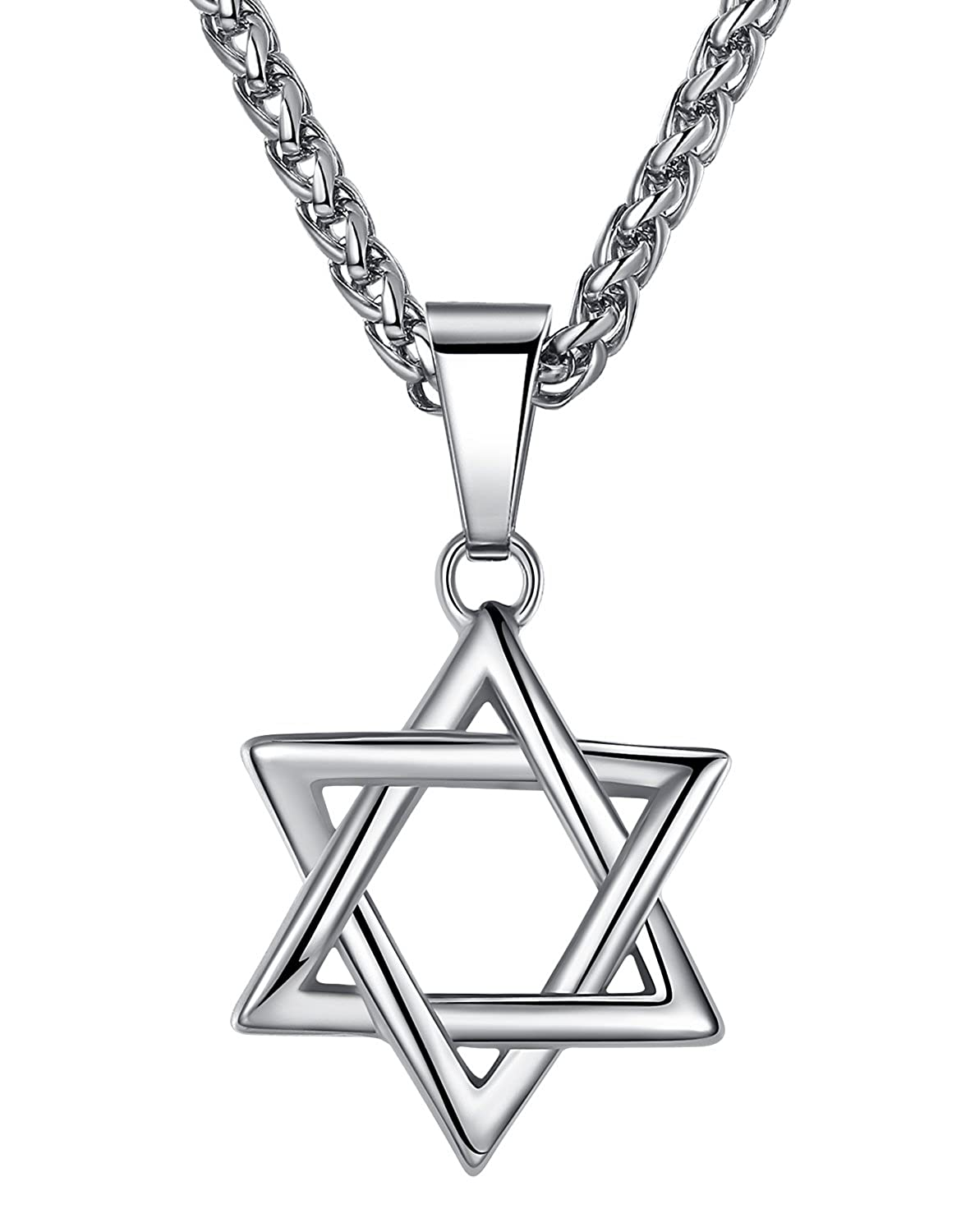 Aoiy Stainless Steel Star of David Pendant Necklace, Unisex, 24 Link Chain, hhp010 24 Link Chain UK_B01BA72GGC