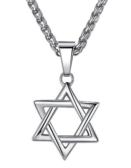 Aoiy - Collar con colgante de acero inoxidable, estrella de David, Unisexo, cadena de 61cm, hhp010