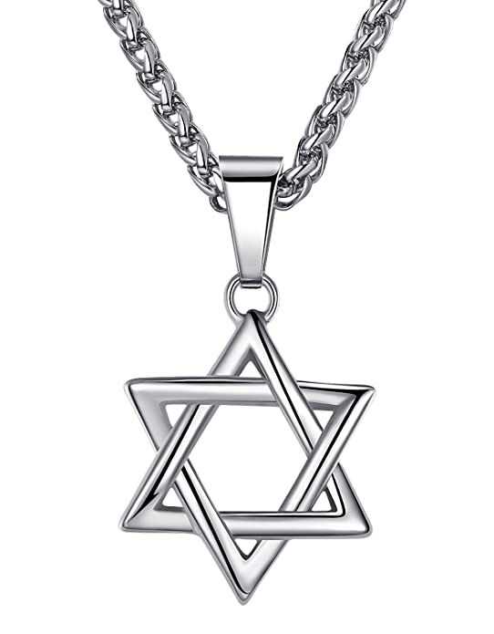 Amazon Com Aoiy Stainless Steel Star Of David Pendant Necklace