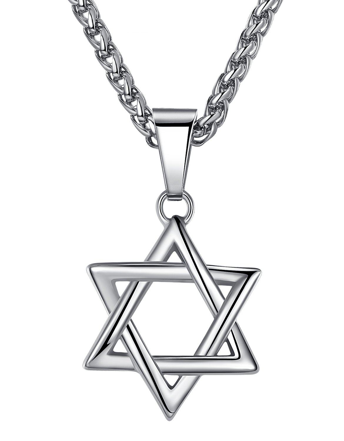 Aoiy Stainless Steel Star of David Pendant Necklace, Unisex, 24'' Link Chain, hhp010