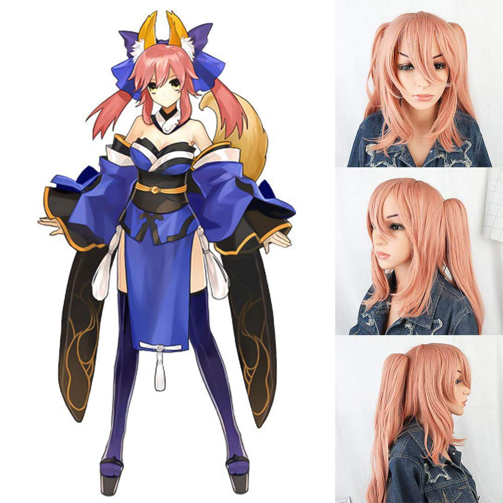 Raleighsee Anime Fate/Grand Order Cosplay Wig Tamamo no Mae Pink Long Wig 120 cm High Temperature Wire Teenage Girl Wig Anime Fans Gift