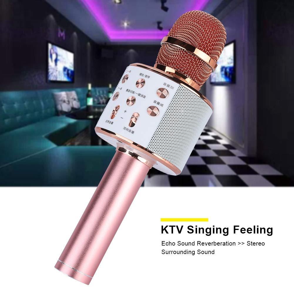 ASHATA Karaoke Machine,Stereo Surrounding Sound Karaoke Bluetooth Microphone with Speaker Stereo Surrounding Sound Support U Disk/TF Card,Wireless Karaoke Microphone MIC with Long Play Time by ASHATA (Image #2)