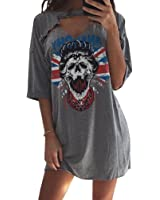 MOLFROA Women's Summer Casual half sleeve Deep-v Neck Skull Print T-shirt Dresses