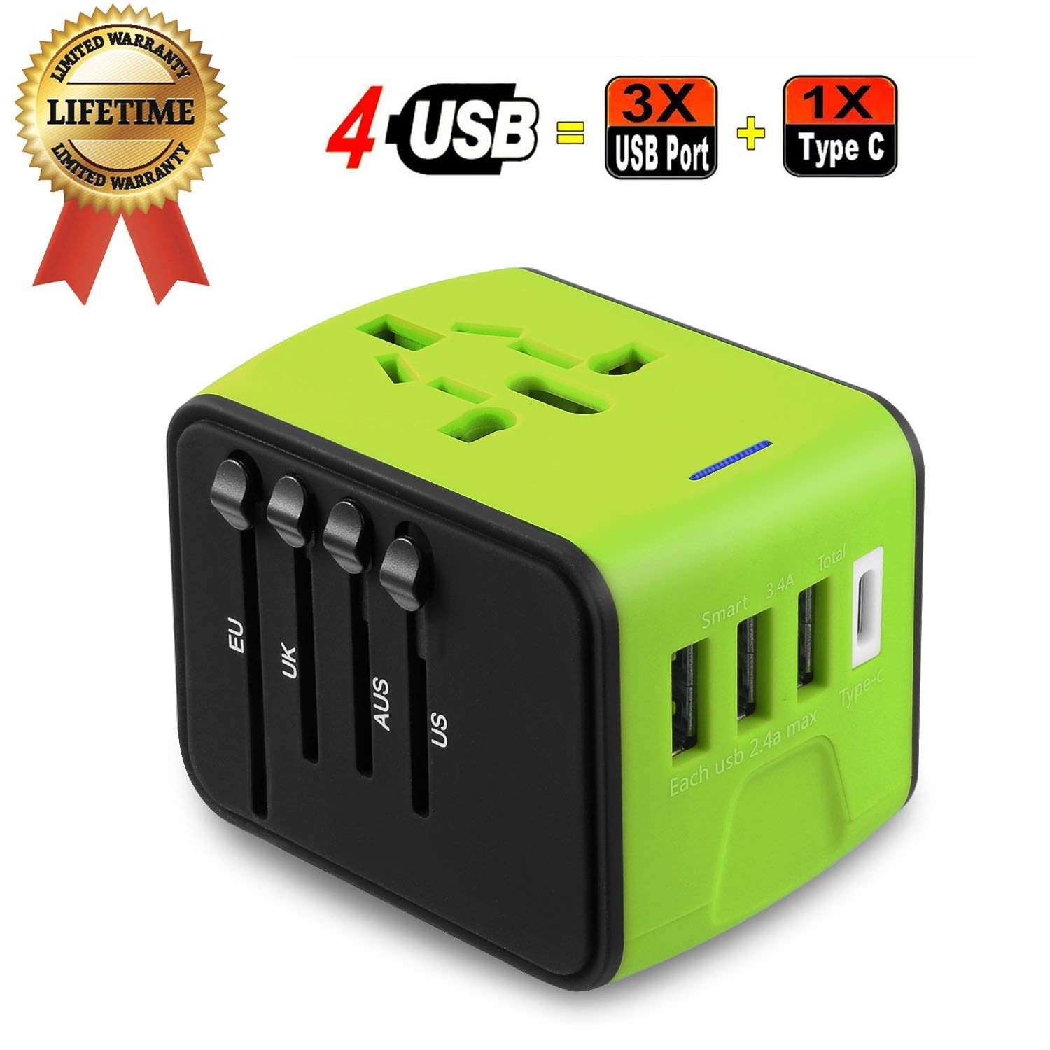 Travel Adapter, JMFONE Universal Travel Adapter 3.4A Type C 4 USB International World Power Plug Adapter Travel Wall Charger USB Plug with UK, EU, AU, US for 200 Countries (Green)