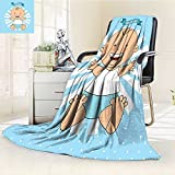 AmaPark Lightweight Blanket Baptism Design Boy Christening Striped Dotted Background Christian Digital Printing Blanket