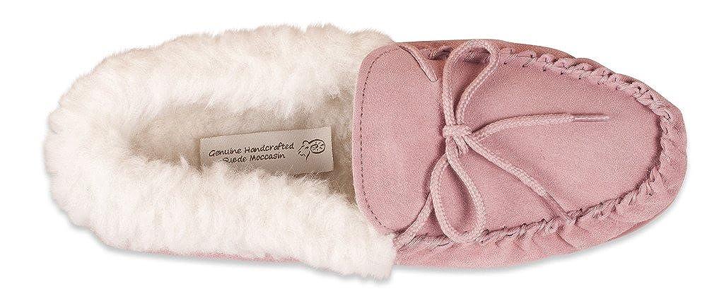 ec39c7af34112 Nordvek - Pantoufles style mocassin - femme - revers en laine et semelles  rigides -
