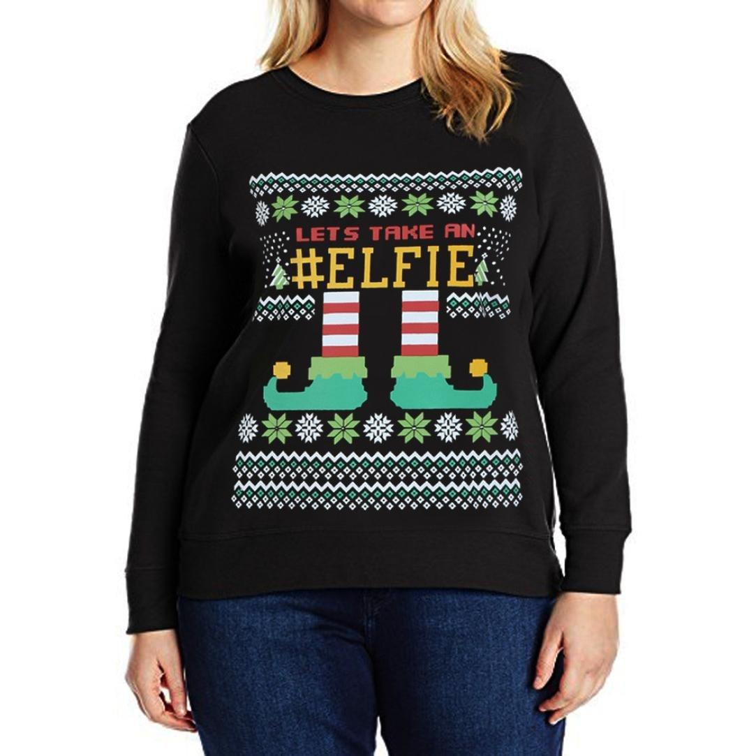 レディースクリスマス文字カジュアルスウェットシャツ長袖シャツブラウスゆったりプラスサイズTop B077D569WP Small|Black (LETS TAKE AN #ELFIE) Black (LETS TAKE AN #ELFIE) Small