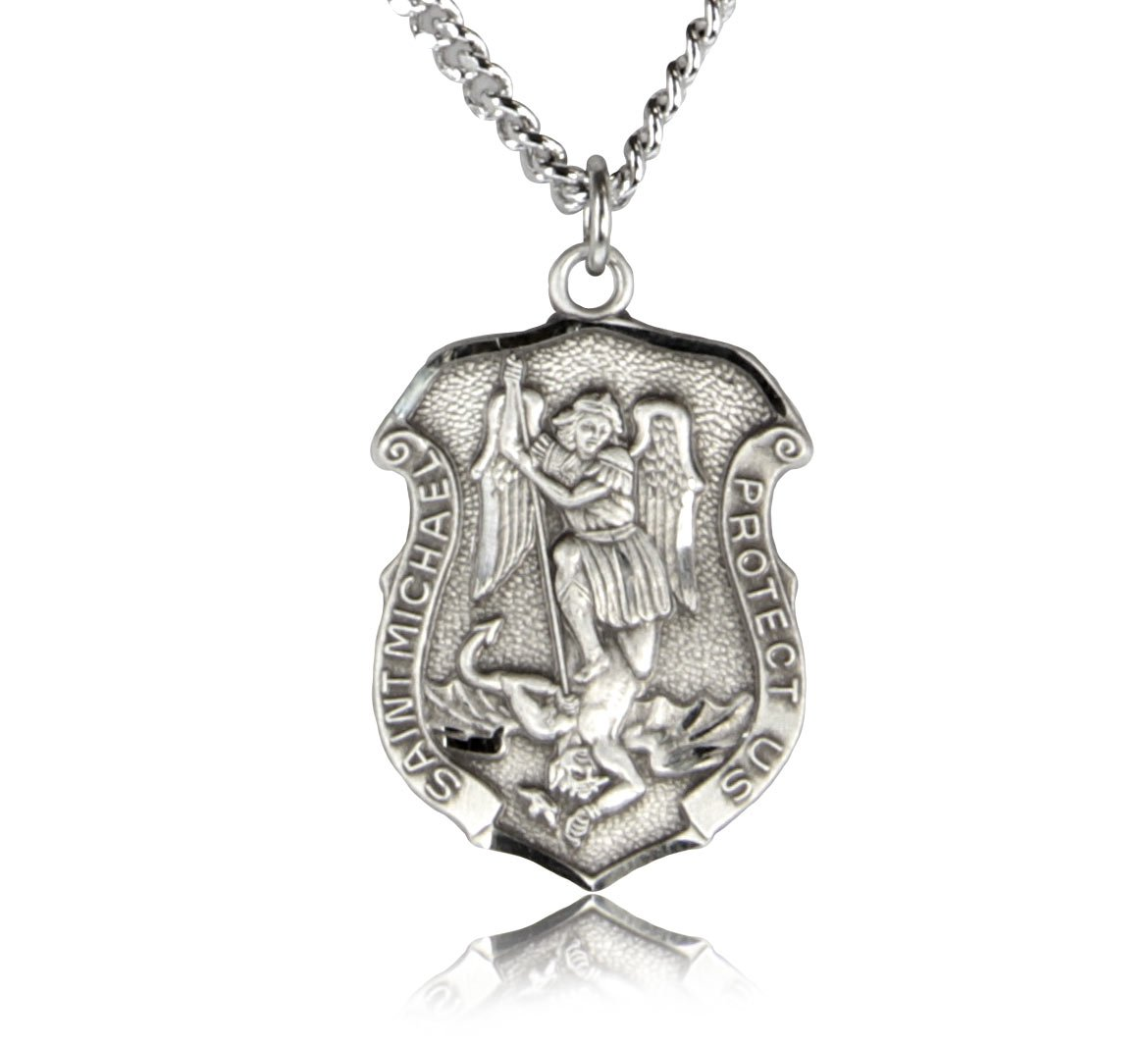 Men's Saint Michael Sterling Silver Police Shield + 24 Inch Sterling Silver Chain & Clasp