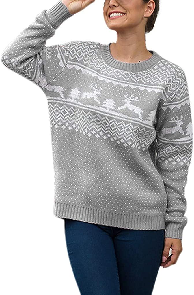 Kolylong Reindeer Abduction Ugly Christmas Sweater Long Sleeve T-Shirt Snowflakes Pullover Jumper S-XL