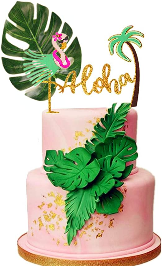 Strange Amazon Com Laventy 2 Pcs Glitter Aloha Cake Topper Flamingo Cake Personalised Birthday Cards Epsylily Jamesorg