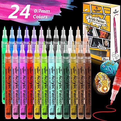 24 Farben Fineliner Wasserfeste Acrylstifte Marker Stifte Filzstift 0,4 mm NEU