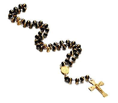 JewelryWe New Gold Stainless Steel Rosary Beads Necklace with Crucifix Cross Pendant 36.6 Inch Chain, 8mm Beads