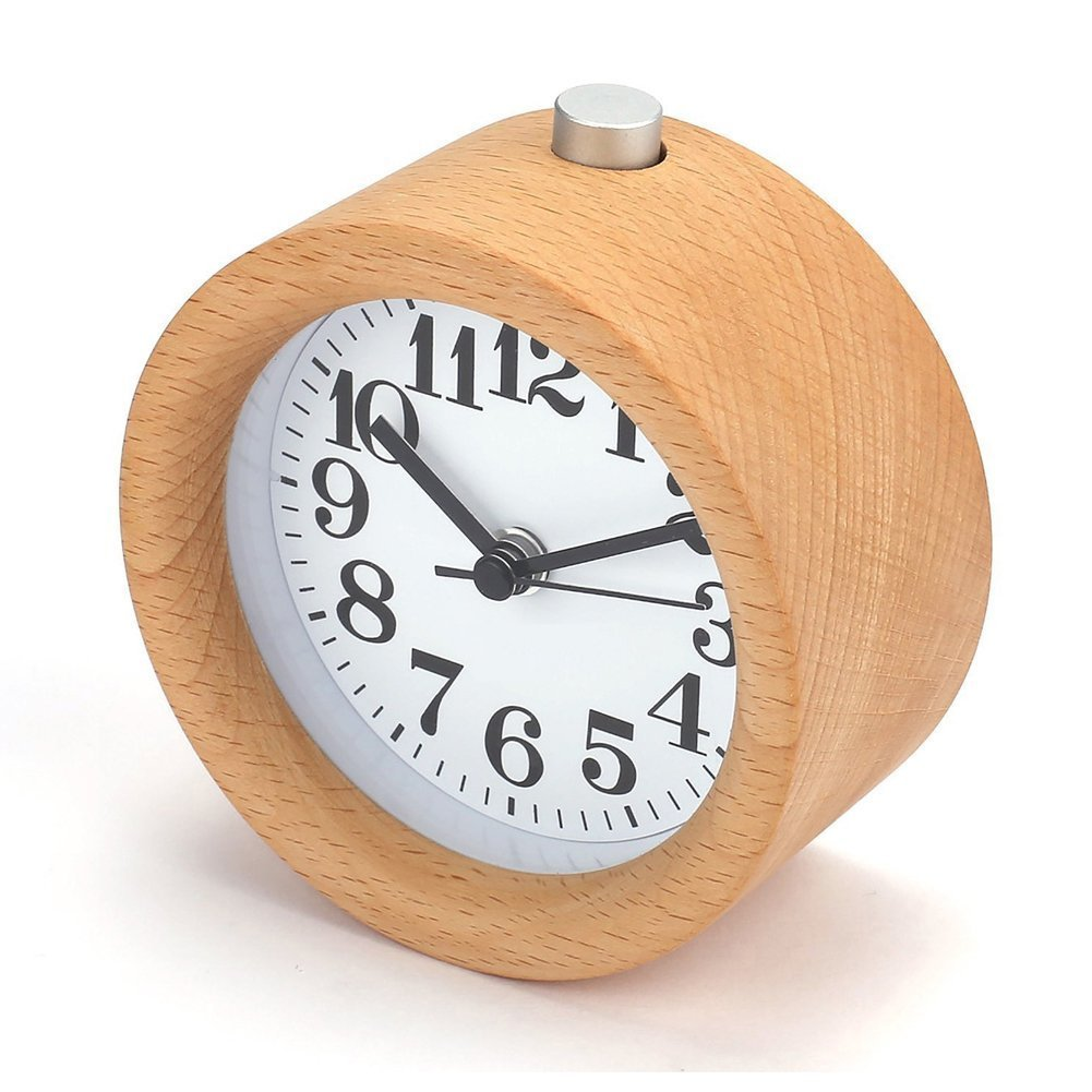 Ciojio Wooden Small Round Silent Alarm Clock with Nightlight Snooze Time Design for Home Bedrooms Office Desk Shelf Kids