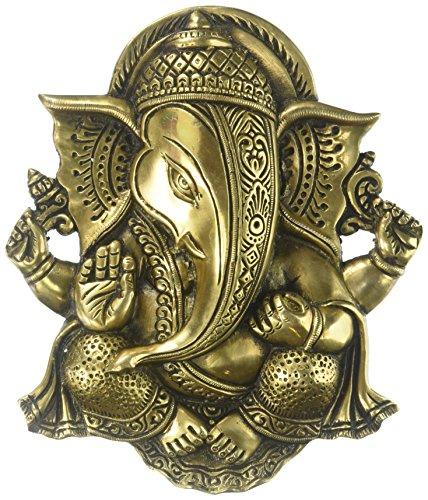 Kapasi Handicrafts Brass God Ganesha Wall Hanging Decor Showpieces 20 X 23 X 4 Cm Gold