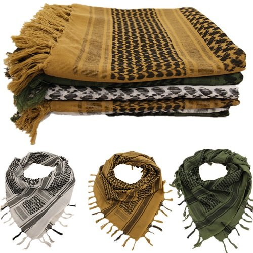 Shemagh Head Neck Scarf Tactical Military Arab Keffiyeh Desert Scarf Wrap 100% Cotton (Black&White) by AVSUPPLY (Image #4)