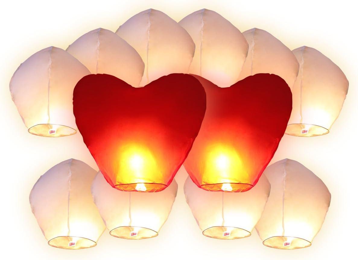12 farolillos chinos voladores (10 unidades farolillos blancos + 2 unidades farolillos corazones rojos gigantes) farol chino volante del cielo regalo de cumpleaños boda San Valentín romántico noche ro