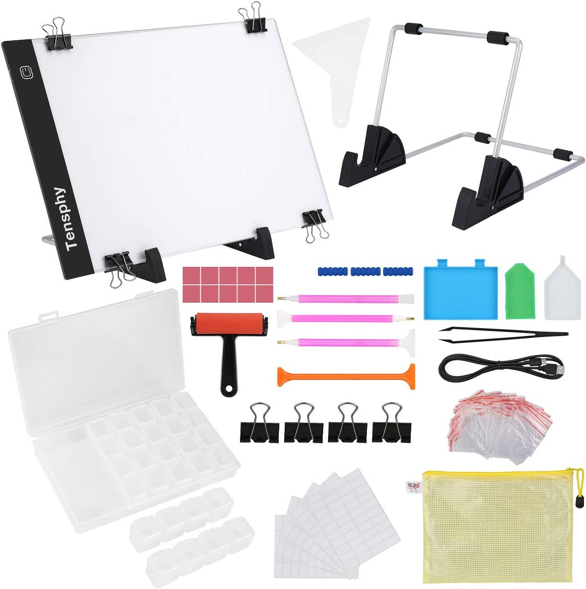 (137PCS) Diamond Painting A4 LED Light Pad Kit, Tensphy DIY Dimmable Light Brightness Board, Artcraft Tracing Light Table, Reusable Painting Pads for Full Drill & Partial Drill 5D Diamond Painting