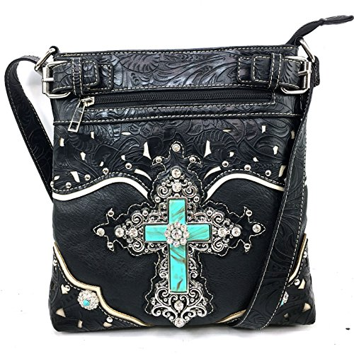 Justin West Tooled Leather Laser Cut Turquoise Rhinestone Cross Concho Studded Messenger Handbag with CrossBody Strap (Studded Cross Messenger)