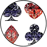 Short Plush Modern Round Carpet mat Collection Diamond Shaped Cards Poker Face Luxury Fortune Symbols Sapphire Decorative Decor Bedroom Bedside Kitchen Bedroom 55'' x 55'' Round