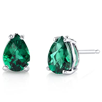 Revoni 14ct White Gold Pear Shape 1.25 Carats Emerald Stud Earrings YTAfPqW5